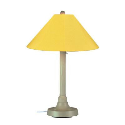 San Juan 34 in. Outdoor Bisque Table Lamp with Buttercup Shade