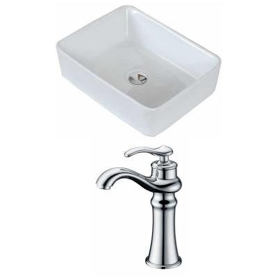 Rectangle Vessel Sink Set in White with Deck Mount cUPC Faucet