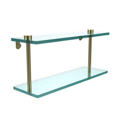 16 in. W x 16 in. L 2-Tiered Glass Shelf in Satin Brass