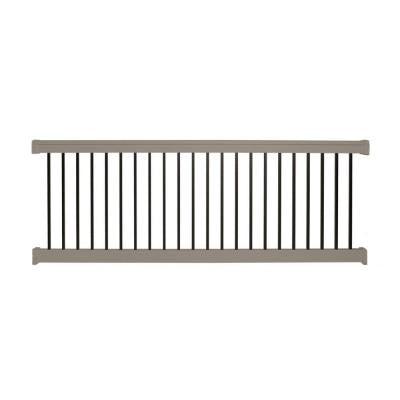 Vilano 36 in. x 96 in. Vinyl Khaki with Square Black Aluminum Spindles Straight Railing Kit