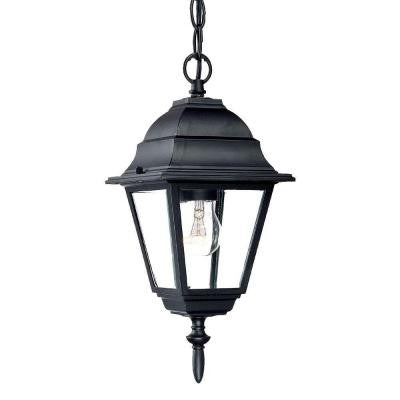 Builder's Choice Collection 1-Light Outdoor Matte Black Hanging Lantern