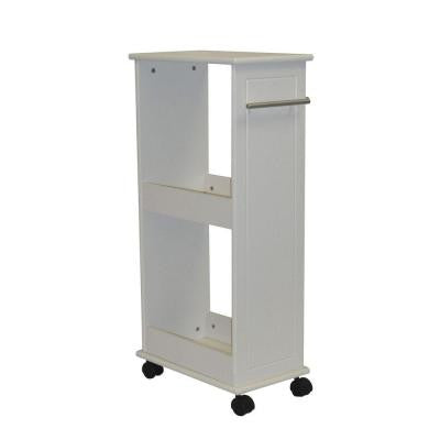 16 in. W Rolling Side Cabinet with Shelves in White