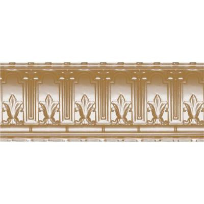 9-1/2 in. x 4 ft. x 9-1/2 in. Satin Brass Nail-up/Direct Application Tin Ceiling Cornice (6-Pack)
