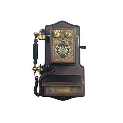 Corded Wooden Wall Phone with Faux Antique Features