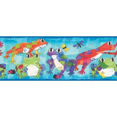 6.8 in. x 15 ft. Brightly Colored Leaping Frogs Border