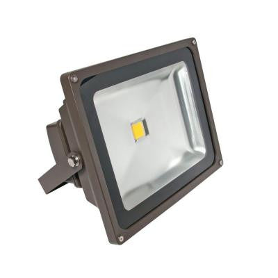 Wall-Mount 1-Head Outdoor Bronze LED Soft White Flood Light