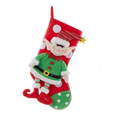 21 in. Fabric Christmas Elf Stocking