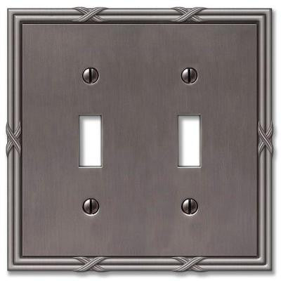 Ribbon and Reed 2 Toggle Wall Plate - Antique Nickel
