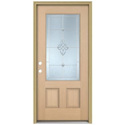 36 in. x 80 in. Rosemont 3/4 Lite Unfinished Hemlock Wood Prehung Front Door with Brickmould and Zinc Caming