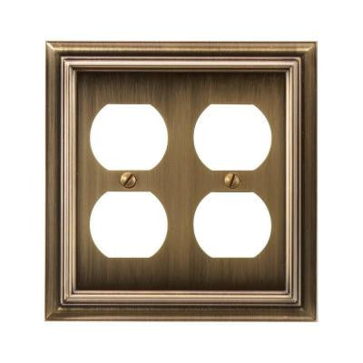 Continental 2 Duplex Wall Plate - Brushed Brass