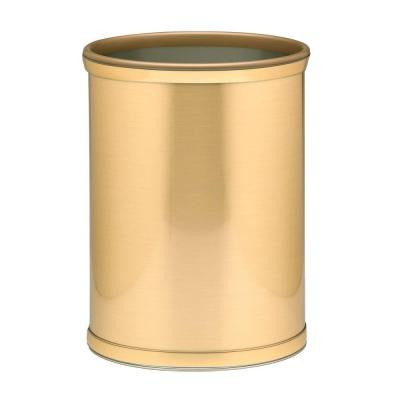 Brushed Brass Mylar Trash Can with 3/4 in. Brushed Brass Band and Gold Bumper