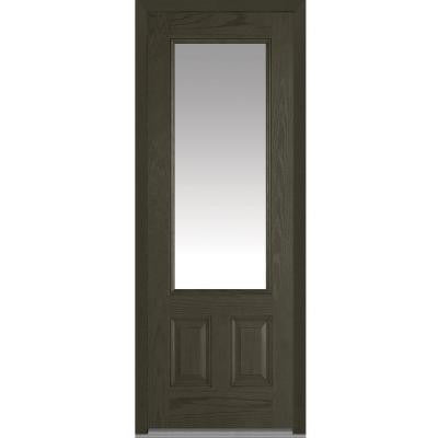 36 in. x 96 in. Classic Clear Glass 3/4-Lite Finished Oak Fiberglass Prehung Front Door