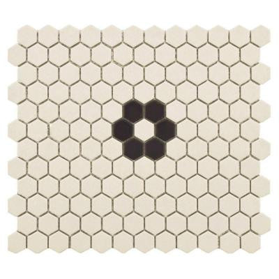 Gotham Hex Antique White with Flower 10-1/4 in. x 12 in. x 5 mm Unglazed Porcelain Mosaic Tile (8.54 sq. ft. / case)