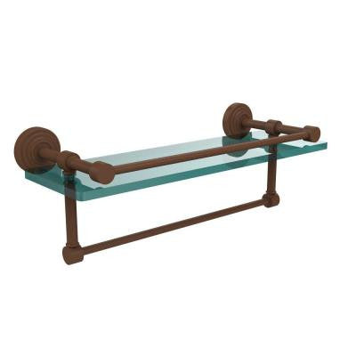 16 in. W Gallery Glass Shelf with Towel Bar in Antique Bronze