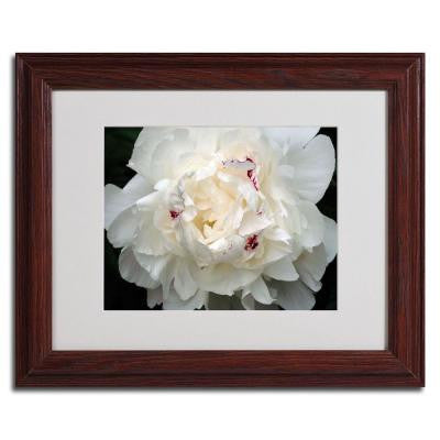 11 in. x 14 in. Perfect Peony Dark Wooden Framed Matted Art