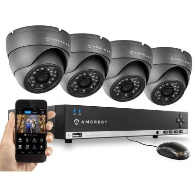 960H 4-Channel Video Security Kit - 4 x 800 TVL Dome Outdoor Cameras,500GB HD (Upgradable)