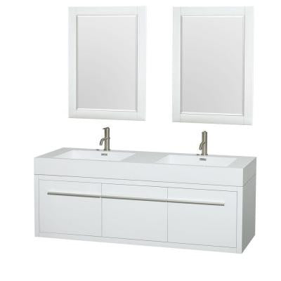 Axa 60 in. Double Vanity in Gloss White with Acrylic Resin Vanity Top in White, Integrated Sinks and 24 in. Mirrors