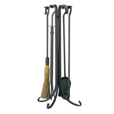 Olde World Iron 5-Piece Fireplace Tool Set with Crook Handles