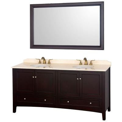 Audrey 72 in. Vanity in Espresso with Double Basin Marble Vanity Top in Ivory and Mirror