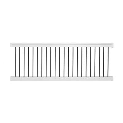 Bellaire 36 in. x 96 in. Vinyl White with Round Black Aluminum Spindles Straight Railing Kit