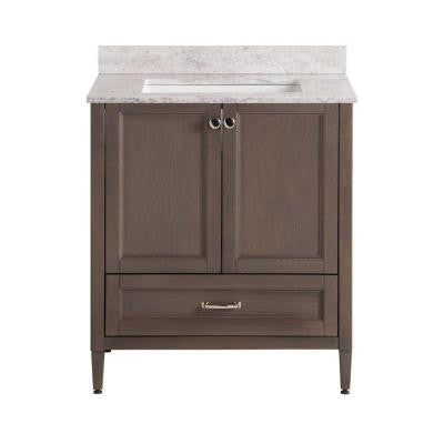 Claxby 31 in. W x 22 in. D Vanity in Flagstone Gray with Stone Effects Vanity Top in Winter Mist with White Basin
