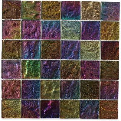 Iridescent Gold Squares 12 in. x 12 in. x 8 mm Foil Glass Mosaic Tile