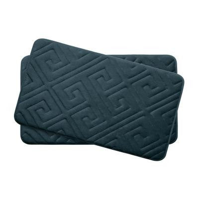 Caicos Slate Teal 17 in. x 24 in. Memory Foam 2-Piece Bath Mat Set