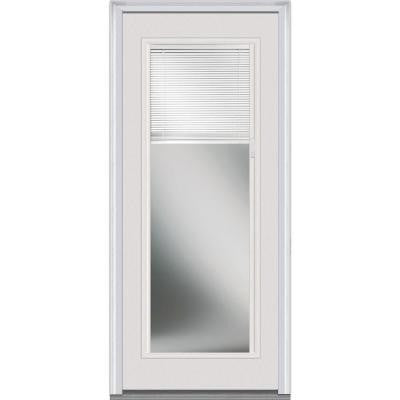 34 in. x 80 in. Internal Mini Blinds Clear Glass Full Lite Primed White Fiberglass Smooth Prehung Front Door