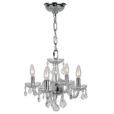Clarion Collection 4-Light Chrome Crystal Chandelier with Clear Glass