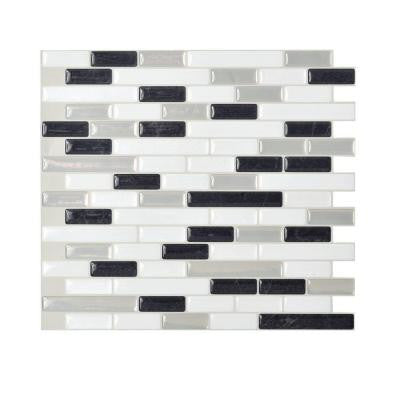 10.20 in. x 9.10 in. Peel and Stick Mosaic 3D Gel Decorative Wall Tile Backsplash Muretto Alaska in White and Grey