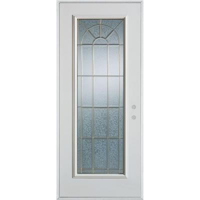 32 in. x 80 in. Geometric Patina Full Lite Prefinished White Left-Hand Inswing Steel Prehung Front Door