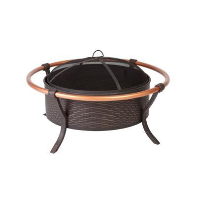 37 in. Woven Fire Pit with Copper Rail