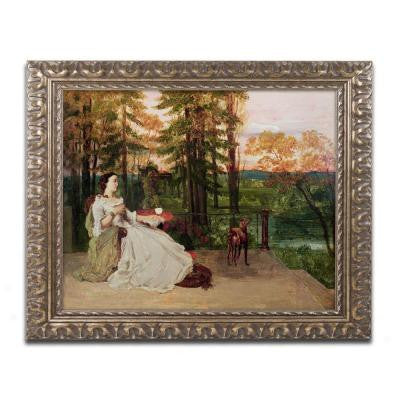 "16 in. x 20 in. ""Woman of Frankfurt"" by Gustave Courbet Framed Printed Canvas Wall Art"