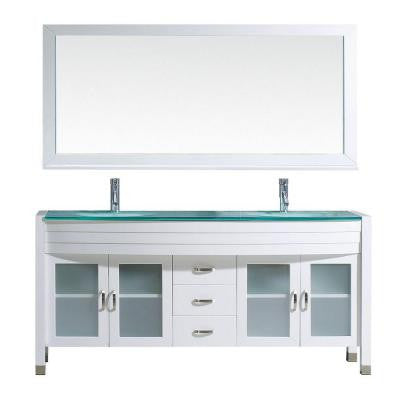 Ava 71 in. Double Vanity in White with Glass Vanity Top in Aqua and Mirror