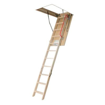 10 ft. 1 in., 54 in. x 25 in. Insulated Wood Attic Ladder with 300 lb. Load Capacity Type IA Duty Rating