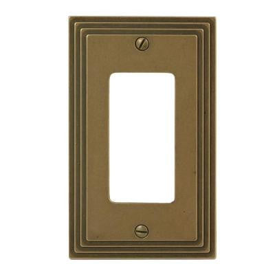 Steps 1 Gang Decora Wall Plate - Rustic Brass