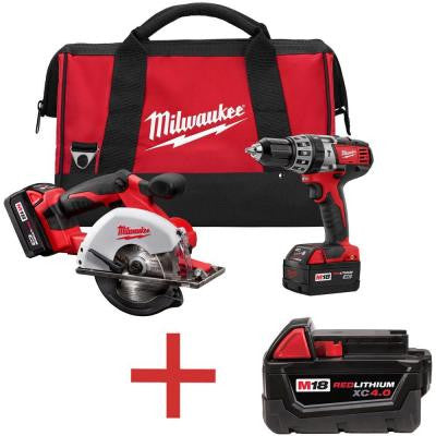 M18 18-Volt Lithium-Ion Cordless Compact Drill/Metal Circular Saw Combo Kit (2-Tool) with Free M18 4.0Ah XC Battery