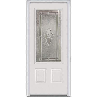 36 in. x 80 in. Master Nouveau Decorative Glass 3/4 Lite 2-Panel Primed White Fiberglass Smooth Prehung Front Door