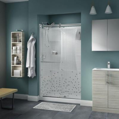 Simplicity 48 in. x 71 in. Semi-Framed Contemporary Style Sliding Shower Door in Chrome with Mosaic Glass