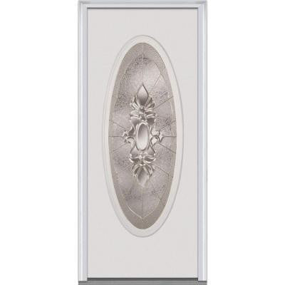 32 in. x 80 in. Heirloom Master Decorative Glass Oval Lite Primed White Steel Prehung Front Door