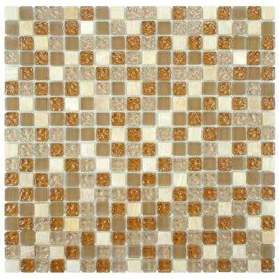 Tessera Mini Amber 11-3/4 in. x 11-3/4 in. x 8 mm Glass and Stone Mosaic Wall Tile