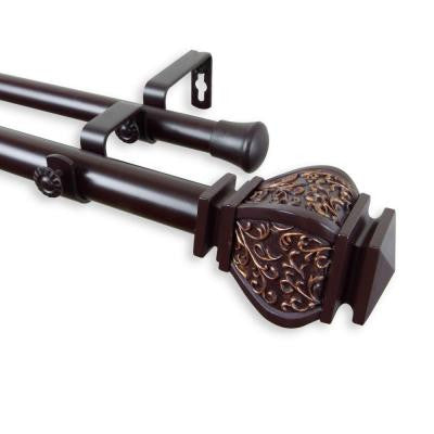 120 in. - 170 in. Telescoping 1 in. Double Curtain Rod Kit in Mahogany with Margot Finial