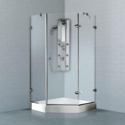 42 in. x 78 in. Frameless Neo-Angle Shower Enclosure in Chrome with Clear Glass