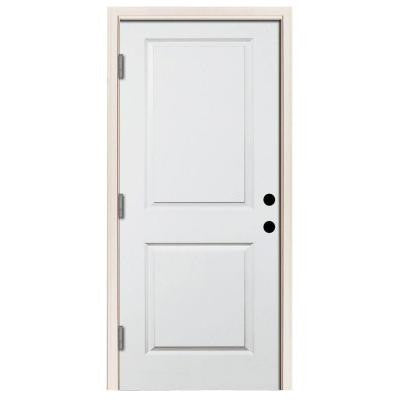 32 in. x 80 in. Premium White Right-Hand Outswing 2-Panel Square Primed Steel Prehung Front Door with 4 in. Wall