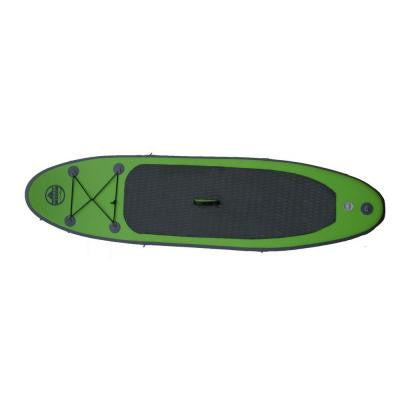 8 ft. Green PVC SUP Inflatable Backpack Paddle Board with Adjustable Paddle