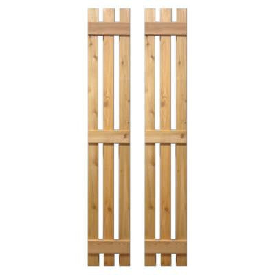 12 in. x 67 in. Natural Cedar Baton Spaced Shutters Pair