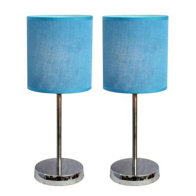 11.89 in.Chrome Mini Basic Table Lamps with Blue Fabric Shades 2 Pack Set