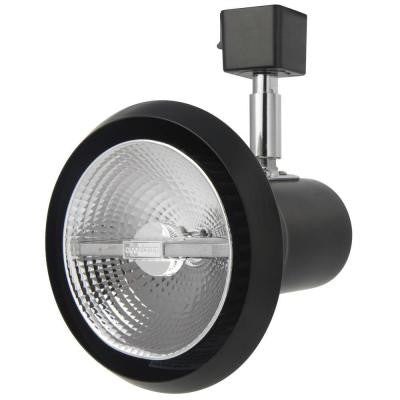 1-Light Black Front Loading Shade Commercial Track Head