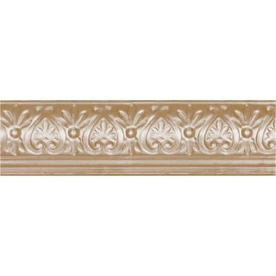 6-5/8 in. x 4 ft. x 6-1/4 in. Satin Brass Nail-up/Direct Application Tin Ceiling Cornice (6-Pack)