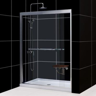 Duet 60 in. x 74-3/4 in. Bypass Sliding Shower Door in Chrome with Center Drain Base